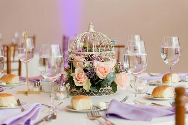 Gold Birdcages Fresh Lush Florals Beautiful Centerpieces Romantic Garden Wedding