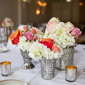 Trio Floral Centerpieces Pink Peach Roses Ivory Hydrangeas Mercury Glass Votive Holders Bright Classic Tablescape