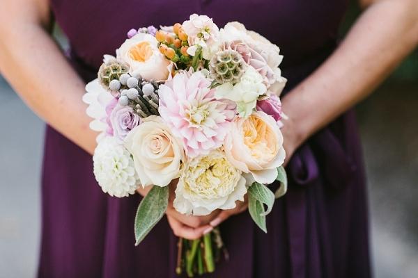 Eggplant Chiffon Kennedy Blue Bridesmaids Dresses Dahlias Roses Silver Brunia Balls Scabiosa Pods