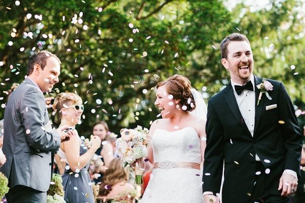 Bride Groom Pastel Confetti Husband Wife