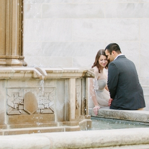 Quiet Moment Serene Fountain Bride Groom Secret Garden Inspired Engagement Session