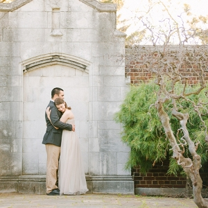 Long Flowy Maxi Dress Stone Wall Twisted Tree Branches Perfect Accents Secret Garden Inspired Engagment Session
