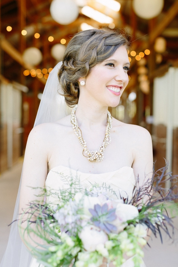 Bride Beautiful Statement Pearl Necklace Braided Hair Rhinestone Earrings Veil Shabby Chic Farm Wedding Pittsburgh