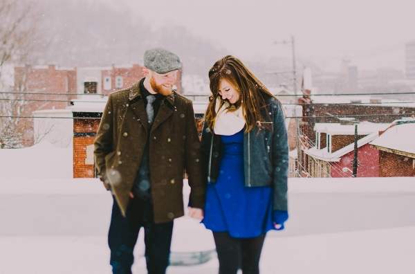 Snowflakes Rooftop Deck Whimsical Snowy Colorful Engagement Session