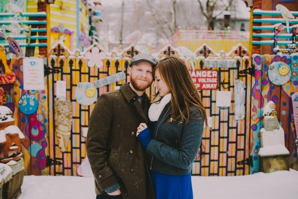 Modern Urban Art Gallery Backdrop Snowy Colorful Engagement Session
