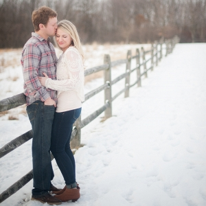This Bride and Groom have Their Love to Keep Them Warm During Their Snowy Field Engagement Session