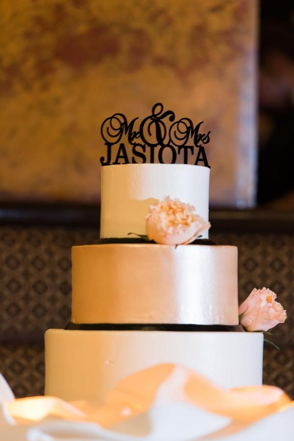 Laser Cut Cake Topper Tiered Buttercream Metallic Wedding Cake