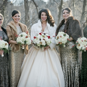 Mismatched Sequin Bridesmaids Dresses Faux Fur Stoles Winter Sparkly Christmas Wedding