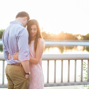 Romantic Glowing Sunset River Summery Park Engagement Session Beautiful