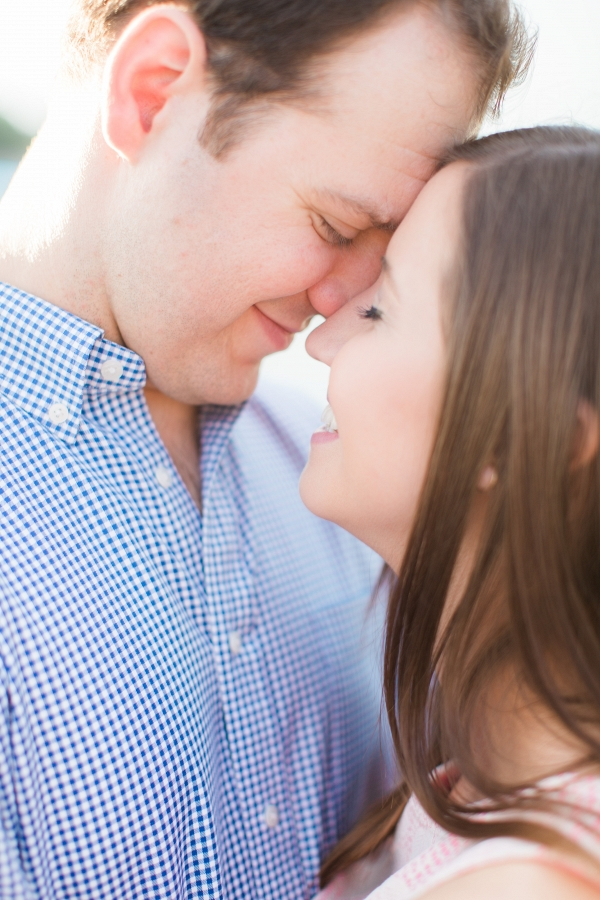 Bride to Be Fiance Smiles Summery Park Engagement Session Sunset