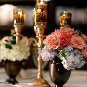 Pink Blue Florals Copper Mercury Glass Candelabras Color Vintage Fairy Tale Inspired Pittsburgh Wedding