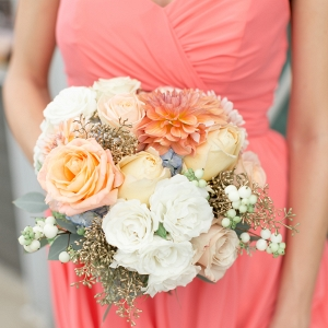Lush White Peach Bouquet Coral Strapless Chiffon Bridesmaid Dress
