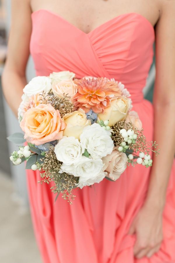 Lush White Peach Bouquet Coral Strapless Chiffon Bridesmaid Dress