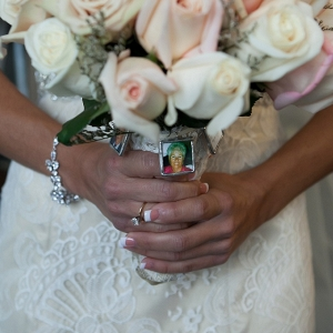 This Bride Honored Her Lost Loved Ones by Wearing Their Photos in  Locket Attached to Her Bouquet
