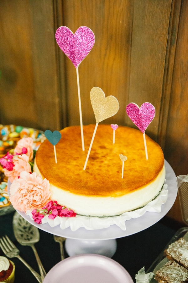 Offbeat Bride Groom Cheesecake Topped Glitter Hearts Traditional Wedding Cake