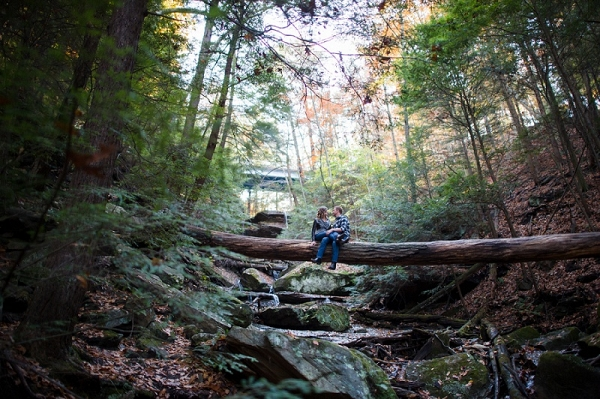Adventurous Couple Climb Tree Woodsy Engagement Session