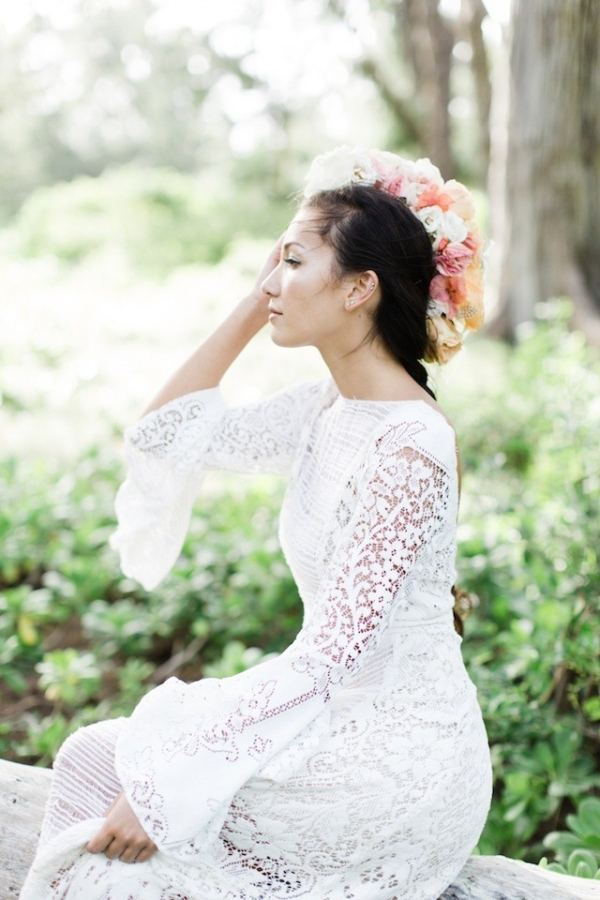 Flower Mohawk on a Boho Bride