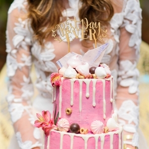 whimsical pink cake on Burnett's Boards