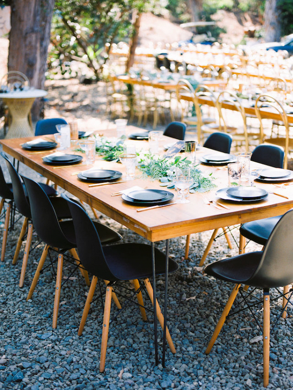 Modern outdoor wedding reception