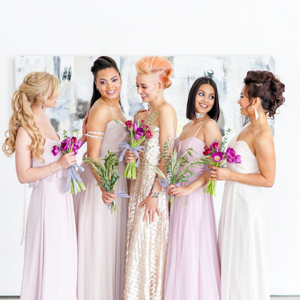 Modern blush and champagne bridesmaids on Burnett's Boards