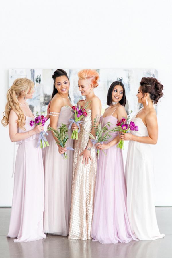 Modern blush and champagne bridesmaids on Burnett's Boards