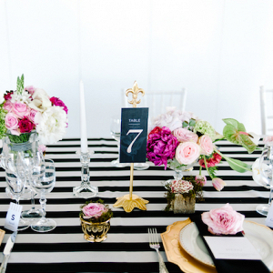 Black, white, and pink tablescape