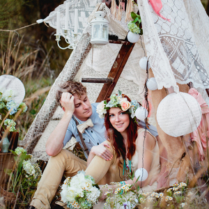 Boho tent engagement session
