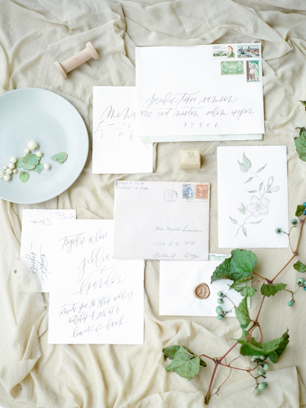 Calligraphy wedding invitation on Burnett's Boards