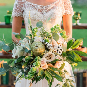 6e3fdc63d3 Gold wedding cake  Greenery bridal bouquet ...