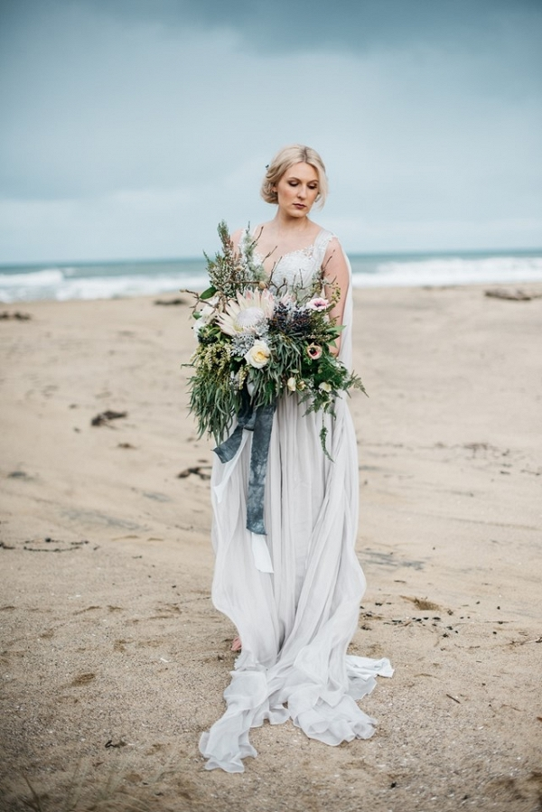 Winter Beach Bride with Protea Bouquet