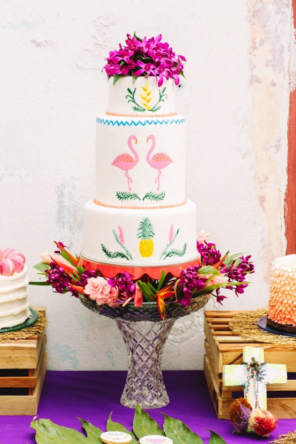 Pink Flamingo wedding cake