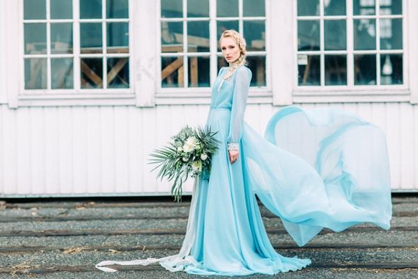 Bride in blue wedding dress on Burnett's Boards