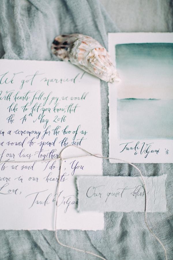 Calligraphy invitation on Burnett's Boards