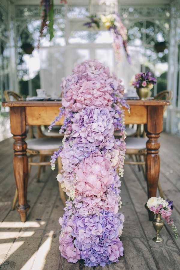 Pink and purple hydrangea table runner