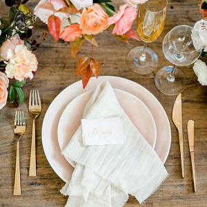 Organic peach and gold place setting