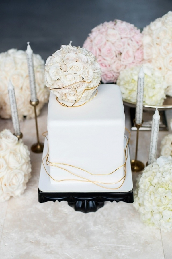 Square Wedding Cake with Flower Ball Cake Topper