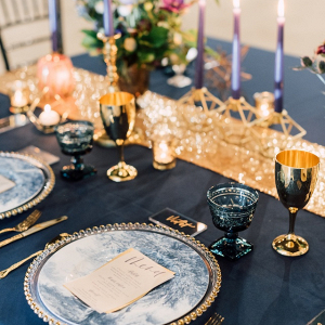 Blue and gold reception table