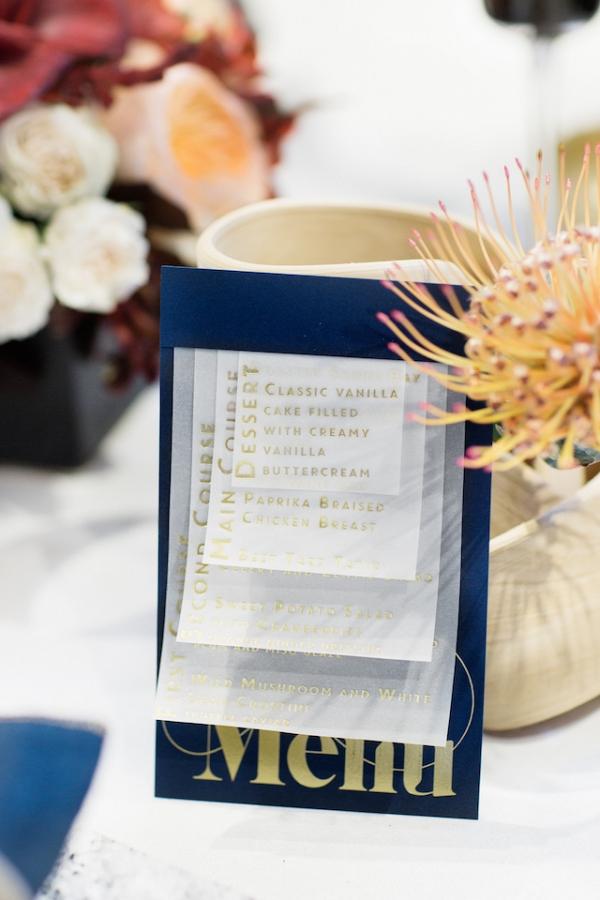 Modern wedding menu on Burnett's Boards