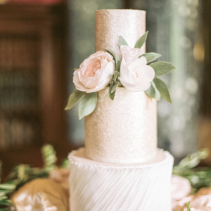 Romantic champagne wedding cake