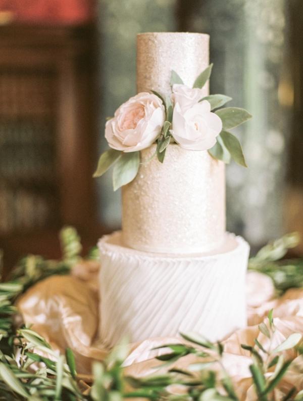 Romantic champagne wedding cake