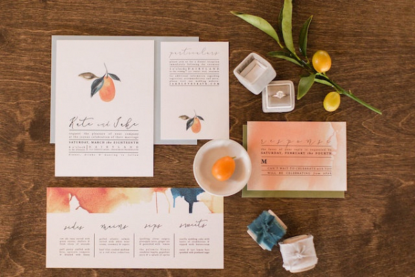 Kumquat watercolor wedding invitation