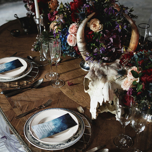 Moody jewel tone tablescape