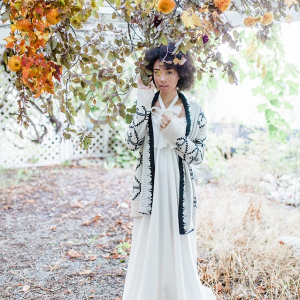Fall bride in sweater