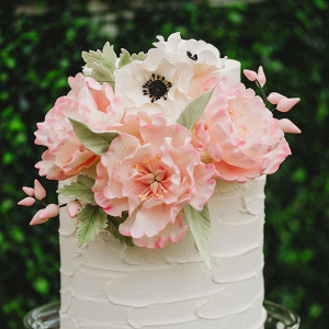 Pink sugar flower wedding cake