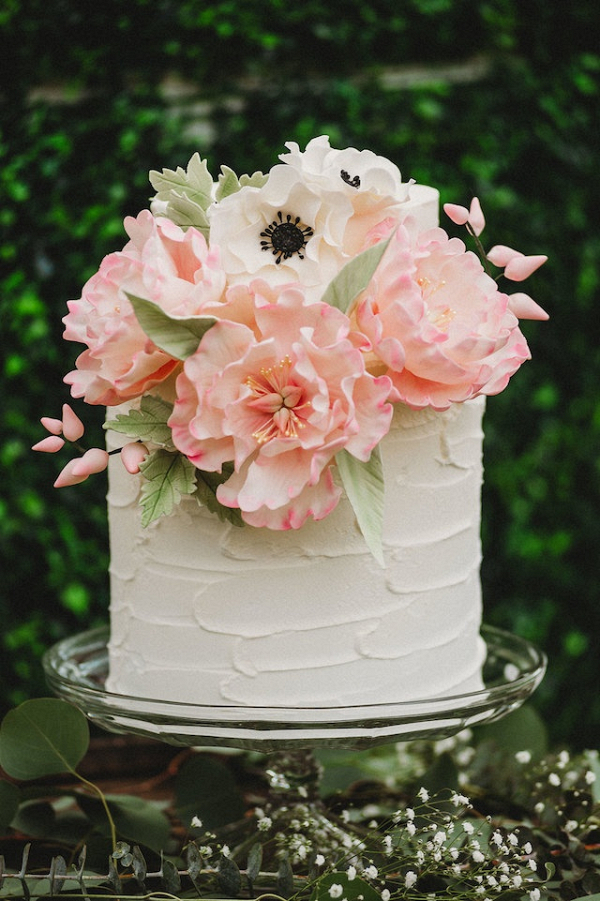Pink sugar flower wedding cake