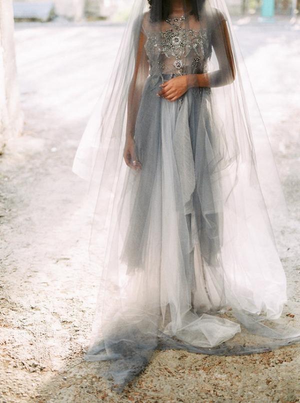 Grey Wedding Dress with Drop Veil