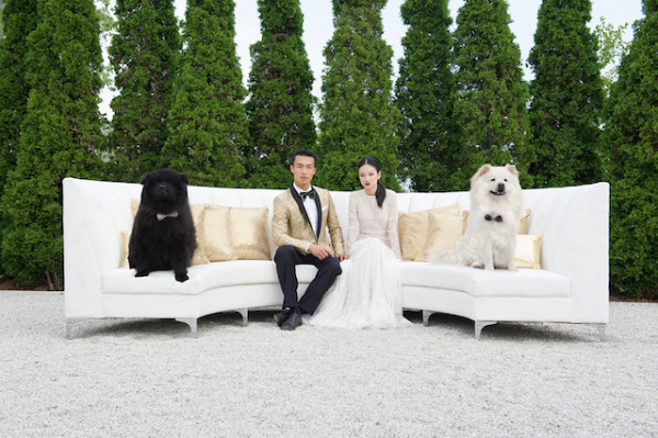 Luxe bride and groom