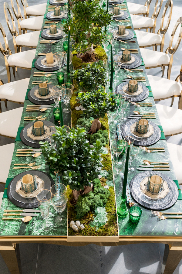 Luxe green and gold tablescape