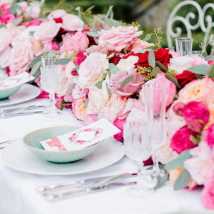 Tablescape with floral table runner