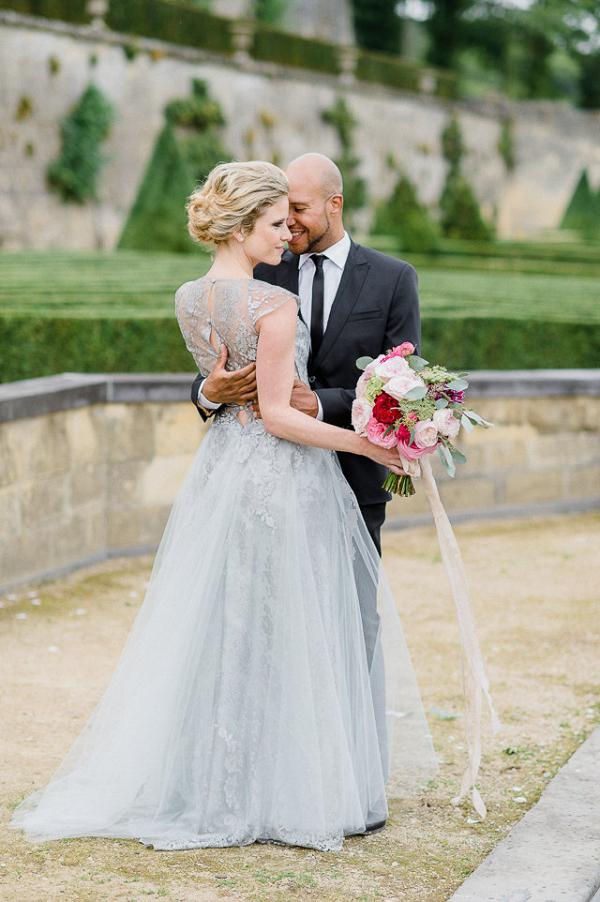 Bride in gray dress